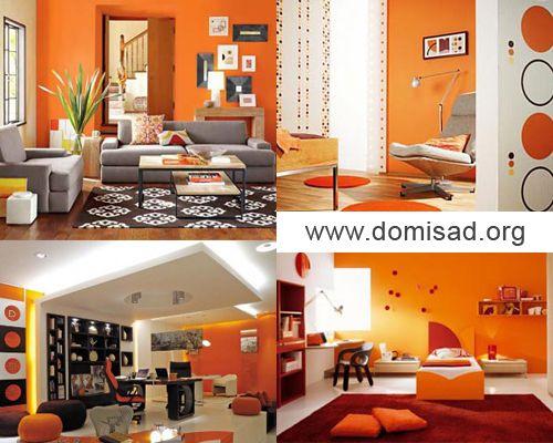 оранжевые обои в интерьере на кухне фото