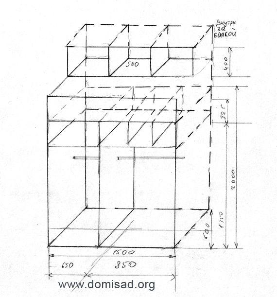 Чертеж, схема или план шкафа купе