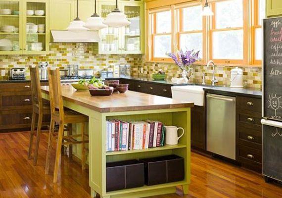 Зелено-сиреневая кухня