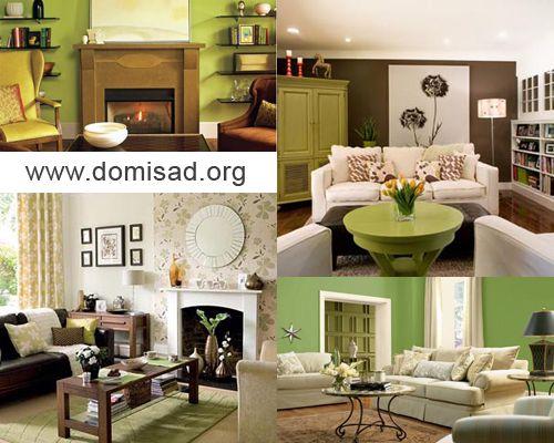 Интерьер в коричнево зеленом цвете