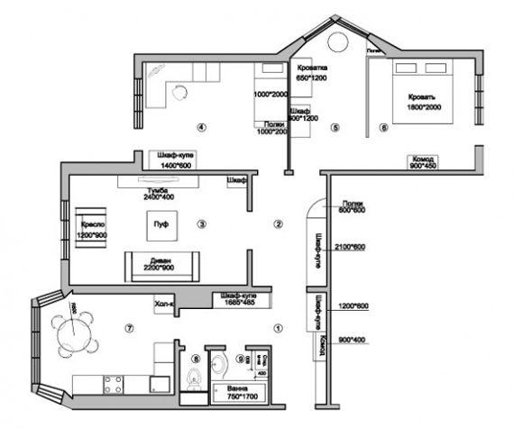 План 3х комнатной квартиры серия П 44 Т