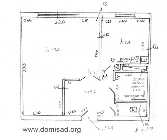 Обмерочный чертеж квартиры