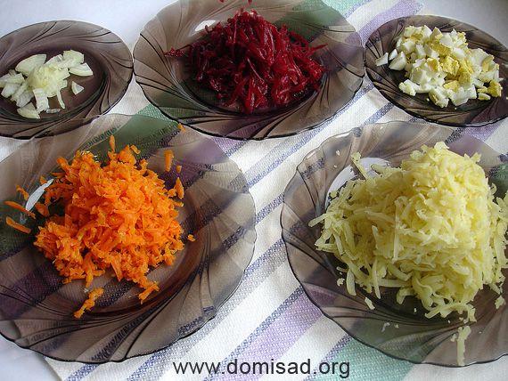 Ингредиенты для селедки под шубой