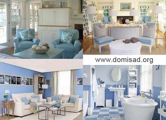 Белый с синим и голубым в интерьере