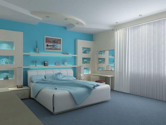 Бело-голубая спальная комната