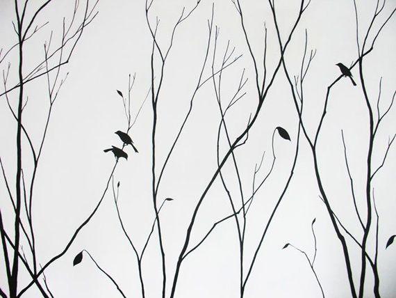 Черно-белый рисунок на стене
