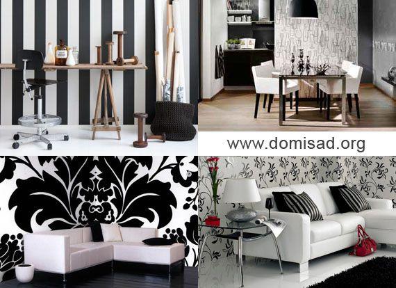 Черно-белые обои на стенах