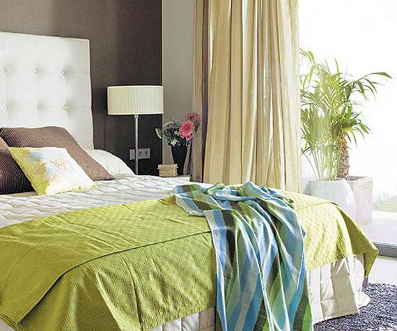 Коричнево-зеленая спальня