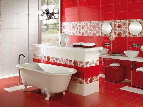 Красная ванная комната — дизайн