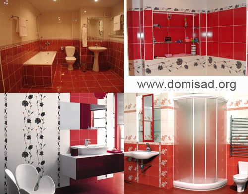 Фотографии красных ванных комнат