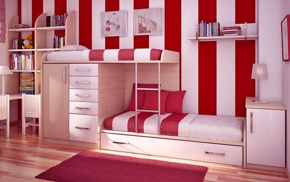 Красно-белые стены в детской