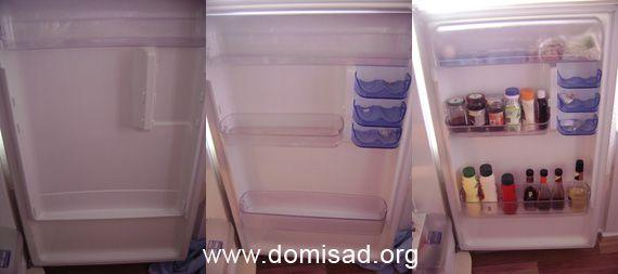 Продукты на полке дверцы холодильника
