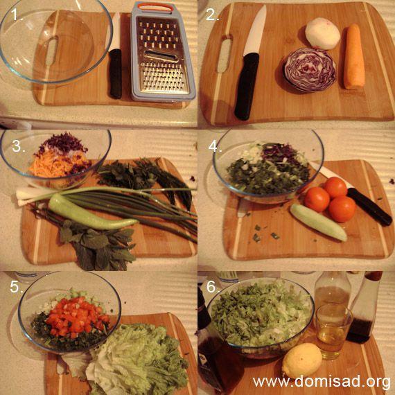Приготовление салата, пошаговые фото