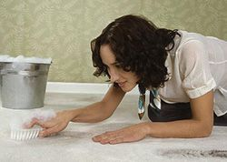 Женщина чистит ковролин в домашних условиях
