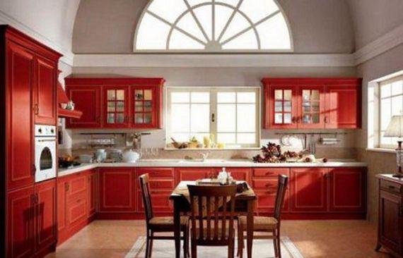 Красная кухонная мебель