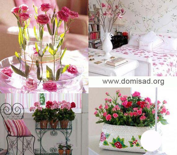Розовые цветы в интерьере