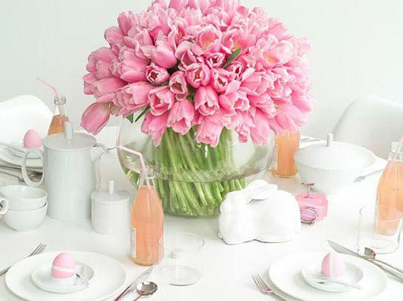 Розовые цветы, тюльпаны