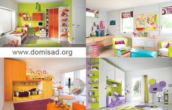 яркий интерьер детской комнаты для мальчиков и девочек фото