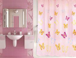 Розовая штора для ванной с бабочками