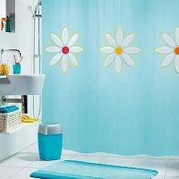 Голубая шторка для ванной с цветами