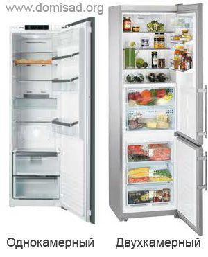 Двухкамерный и однокамерный холодильники