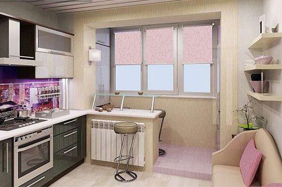 Кухня соединена с балконом