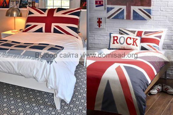 Постельное белье и подушка в британском стиле