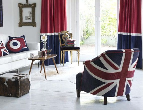 Шторы и кресла с британским флагом