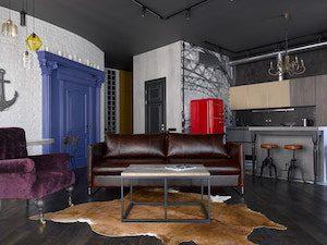 Черный потолок в гостиной